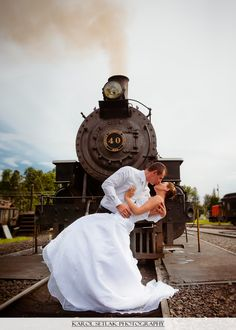Old historic railroad station and train, Connecticut Wedding Photography