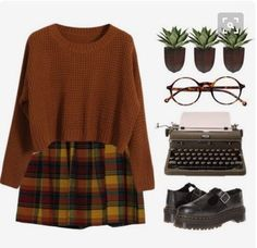 Great Outfit For Back To School Week & Beyond!  My Girlzzzz...  NolaWest*************  skirt orange plaid burnt orange plaid skirt orange plaid skirt burnt orange plaid skirt.