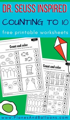 Dr. Seuss inspired counting worksheets