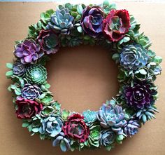 22 succulent wreath Mother's Day SPECIAL 185 by Fairyblooms Cactus and succulents Succulent Display, Succulent Planter Diy, Hanging Succulents, Succulent Wreath, Cacti And Succulents, Diy Wreath, Wreaths, Succulent Wedding Centerpieces, Centerpiece Ideas