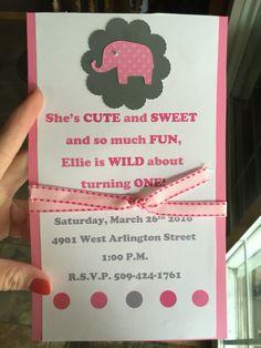 Ellies first birthday invites -handmade