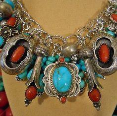 KingmanCastle Dome Turquoise~VINTAGE Coral!!~SS. Native american Charm Bracelet
