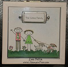 This is a project I created at the request of a friend. I used the All In The Family digital brushed stamp set in MDS to create our bodies. I colored the couple as requested, added leashes, collars and grass under their feet before framing them.