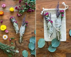 white sage cedar lavender roses or any other herb or flower that dries well. cotton culinary twine