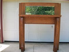 Antique Quarter Sawn Tiger Oak Fireplace Mantel Mantle w/ Beveled Mirror...69--60w--11d///39--41.75w opening