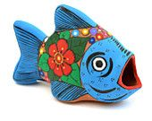 Handpainted Clay Fish Colorful Folk Art Home Decor miniature art for shelf