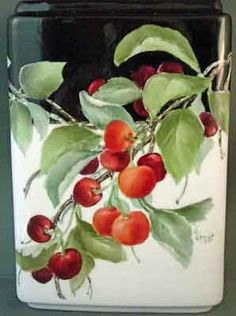 Painting of red cherries on rectangular porcelain vase with dark background by artist and china painting teacher, Jane Wright
