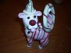 Whimsiclay by Amy Lacombe Cat with Hoop 24269 Retired 2003 Annaco Cat Figurine | eBay