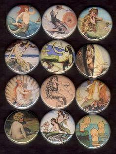 ButtonArtMuseum.com - Vintage buttons - 12 Mermaids flat back buttons or pinback buttons Vintage Style