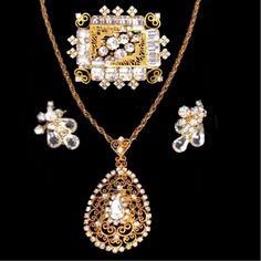 Vintag 3 PC Alice Caviness Crystal Rhinestone Filigree Brooch Pendant Earrings   eBay