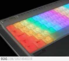 Is that drab old monochromatic keyboard getting you down? This keyboard from Korea's Luxeed features color changing LEDs under each and every key. Laptop Covers, Keyboard Cover, Computer Keyboard, Keyboard Stickers, Computer Skins, Keyboard Keys, Taste The Rainbow, Over The Rainbow, Rainbow Things