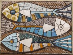 Retro style china fish mosaic panel by BoxofFrogsMosaics on Etsy