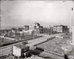 """""""Columbia College, New York."""" The Low Memorial Library in a circa 1897 shot of Columbia University's Morningside Heights campus. Note the steamroller (or whatever that is) to the right. Columbia U, Columbia College, Paris Skyline, New York Skyline, Victorian Buildings, New Amsterdam, Vintage New York, Historical Architecture, Old Photos"""