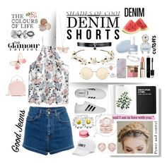 """🌟 denim cutoffs 🌟"" by olivia204 ❤ liked on Polyvore featuring Pull&Bear, Fallon, Cult Gaia, Marc Jacobs, Alex Monroe, Victoria Beckham, Christian Dior, Stila, Killstar and adidas"