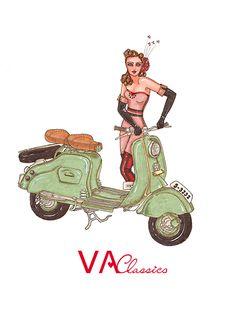VA Classics Illustration/Ilustración nº2. Original Illustration by me; Aninka Miller #vespa #lambretta #piaggio #scooter #scooterist #vespino #vespista