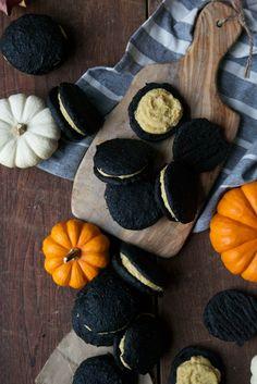 Pumpkin & Coconut Whoopie Pies w/ Charcoal For Halloween