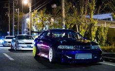 Scarica Sfondi Toyota Mark II, Tuning, Presa Di Posizione, Notte, Blu Mark