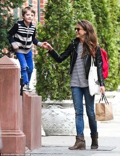 Matching pair: Keri Russell and her son, River, were spotted wearing coordinating striped ...
