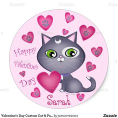 Valentine's Day Custom Cat & Paw Hearts Stickers