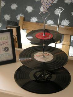 3 Tier Upcycled Vinyl Record Retro Cake Stand. £19.99, via Etsy.