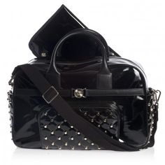 05a87c23e202 Young Versace Black Patent Studded Changing Bag (43cm) at Childrensalon.com