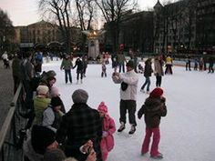 Ice skating in the center of Oslo.
