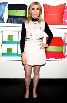 Zosia Mamet in a pink embellished mini dress over a turtleneck People Style  Watch 2e33bf50c