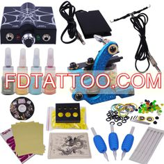 Tattoo Machine Kit with LED Power Supply and 4 Colors for Lining and Shading Tattoo Kits For Sale, Professional Tattoo Kits, Tattoo Machine Kits, Tattoo Equipment, Tattoo Needles, Tattoo Supplies, New Tattoos, Tattoo Artists, Led