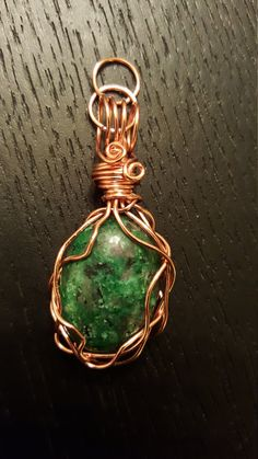 Copper Wire-Wrapped Green Stone Cabochon Pendant