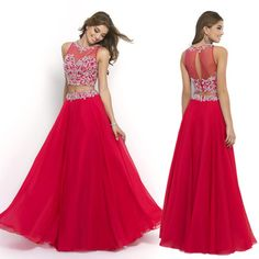 Red Long Two Piece Beading Prom Dresses Evening Gown Dress