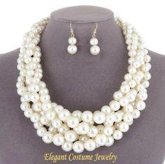 Ivory Chunky Bridesmaid Braid Pearl Necklace Set Elegant Jewelry