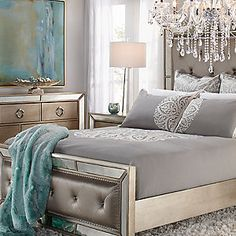 Ailey Bedroom Furniture With Mirrored Accents | Bedroom Furniture ...