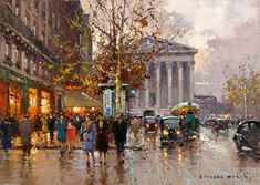 'Rue Royale Madeleine', Oil by Edouard Cortes (1882-1969, France)