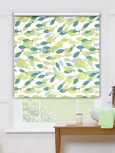 Apple Lime Green Striped Roller Blinds Decorating Ideas