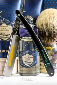 Filarmonica 12 straight razor, Penhaligon's Endymion shave cream, aftershave balm and cologne, Plisson HMW badger brush, Mar. The Art Of Shaving, Shaving Set, Wet Shaving, Shaving Cream, Straight Razor Shaving Kit, Shaving Razor, Shaving & Grooming, Beard Grooming, Shaved Hair Cuts