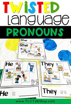 Work on following directions while also targeting the pronouns HE/SHE/THEY.  Also includes sorting mats and sentence strips.  Make double copies of cards to use in matching games too! Receptive Language, Speech And Language, Language Arts, Speech Therapy Activities, Language Activities, Sentence Strips, Free Kindergarten Worksheets, Word Families, School Lessons