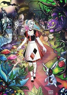 Harley Quinn Alice In Wonderland Harley Quinn Tattoo, Joker Et Harley Quinn, Harley Quinn Drawing, Harley Quinn Cosplay, Personnages Looney Tunes, Harley Quenn, Chesire Cat, Gotham Girls, Gotham Batman