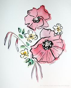 Red Poppy Floral Bouquet 8x10 original watercolor by courtneykhail, $185.00