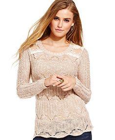 American Rag Long Sleeve Open-Knit Sweater