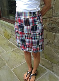 Made of 100% cotton madras patchwork, this classic shaped skirt falls above the knee. One pocket and Zipper closure in back. Machine wash cold water, hang to dry and lightly iron! Fully lined. This skirt is fitted, order up a size if you want to tuck a shirt in! A perfect skirt for the summer warm days. Available in 17 or 19 inch length (choose length below) Model wearing 19 inches in photo.