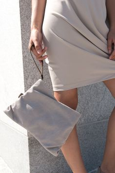 asum maya clutch-purse & draped dress by designer #AngelaSum, #minimalStyle #byAsum