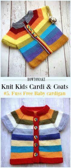 Fuss Free Baby cardigan Free Knitting Pattern - #Knit Kids #Cardigan Sweater Free Patterns