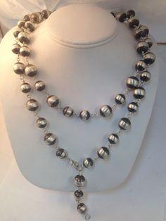Native American Navajo Indian Jewelry SterlingSIlver Long Navajo Pearl Necklace