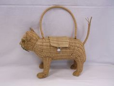 Vintage Wicker Figural Cat Purse Handbag Marble Eyes From Collection Listed Now…