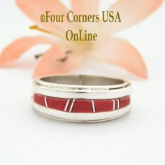 Size 5 Red Coral Inlay Ring Native American Wilbert Muskett Jr Four Corners USA OnLine Navajo Sterling Silver Jewelry Native American Wedding, Native American Rings, American Indian Jewelry, Engagement Wedding Ring Sets, Wedding Ring Bands, Great Anniversary Gifts, Alternative Wedding Rings, Red Coral, Band Rings
