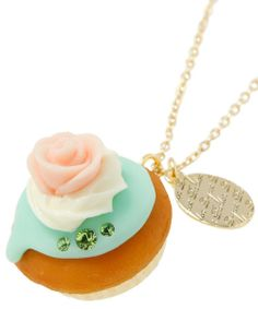 Q-pot Rose CupCake Necklace B704 0417 from JAPAN