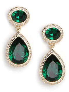 BaubleBar  Gold Emerald Sparkle Drops  Who doesn't love a good pair of adorable drop earrings? Add richly hued emerald stones and it's hard to go wrong, whether using as a topper for day or night.
