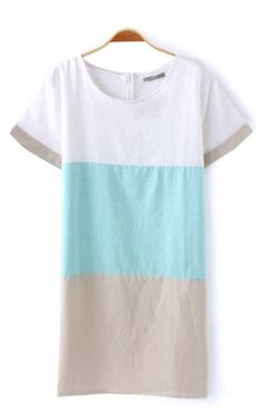 O-neck Short Sleeves Color Block Cotton Dress