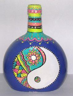 botella pintada a mano - Adornos - Casa - 796201
