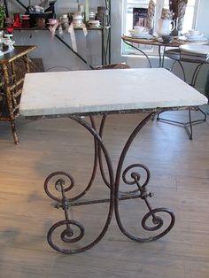 Marble-top butcher table. c. 1880, France